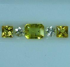 Ring Set Natural Yellow Sapphire Emerald Cut Square White Round Diamond Cut | eBay