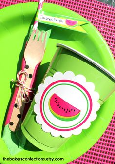 PRINTABLE Watermelon Birthday Labels with for by ladybuglabels, $3.00