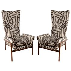 Midcentury High Back Chairs in the Style of Adrian Pearsall  USA  midcentury  Pair of midcentury high-back chairs in the style of Adrian Paersall upholstered in printed linen