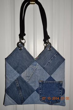 Recyled Patchwork Blue Jean Purse by DiQuilts on Etsy, $35.00