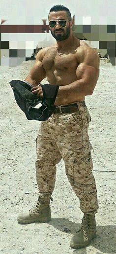 """Ali Baba"" and the middle eastern men Sexy Military Men, Middle Eastern Men, Muscle Boy, Muscle Hunks, Camo Men, Arab Men, Beach Friends, Great Beards, Men In Uniform"