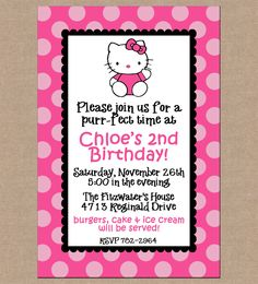 12 Personalized Printed Girl Pink Hello Kitty Party Birthday Invitations with envelopes. $13.95, via Etsy.