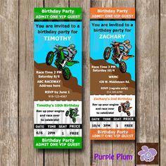 Invite Dirt bike Invite Personalized Dirt by PurplePlumPrintables
