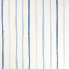 Blue Painterly Stripe Cotton Curtain Fabric
