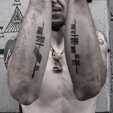 50 Ogham Tattoo Designs For Men - Ancient Alphabet Ink Ideas Ogham Alphabet, Sweet Tattoos, Word Tattoos, Tattoos For Guys, Ogham Tattoo, Celtic Tribal Tattoos, Buffalo Tattoo, Ancient Alphabets, Character Makeup