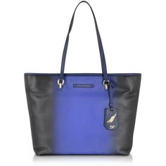 Diane Von Furstenberg Sutra Ready To Go Ombre Leather Tote ($395) ❤ liked on Polyvore featuring bags, handbags, tote bags, leather totes, blue tote bags, zip top leather tote, leather handbags and blue leather purse