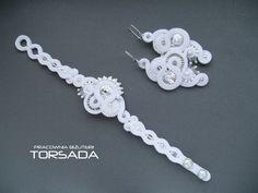 Aphrodite white soutache set wedding jewerly by TORSADAJewerly