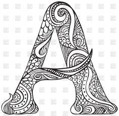 Mano Dibujado Letra Mayuscula E En Negro Hoja Para Colorear Para