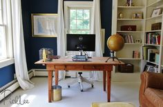 Home office with a DIY Painted Plywood (sub) Floor!