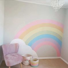 Rainbow Room Kids, Rainbow Bedroom, Kids Wall Murals, Kids Room Wall Art, Girls Room Paint, Girl Room, Room Wall Painting, Baby Room Paintings, Rainbow Wallpaper