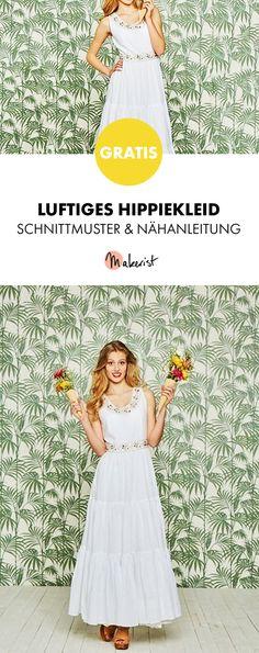 Gratis Anleitung: Luftiges Hippiekleid - Schnittmuster und Nähanleitung via Makerist.de