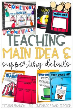Teaching main idea and supporting details is crucial for young readers. These hands-on activities, kids crafts, short passage, no prep printables, and anchor charts are all included here! Click the pin to check out some of the best ways to teach main idea and details to your elementary students! Train Activities, Group Activities, Hands On Activities, Reading Activities, Teacher Observation, Teaching Main Idea, Short Passage, Comprehension Strategies, Circus Theme