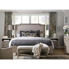 Julia Modern Classic Grey Upholstered Light Brown Wood Bed - Queen Queen | Kathy Kuo Home