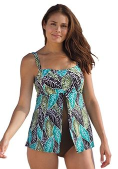 Plus Size Split-top maillot one-piece swimsuit by Swim 365® | Plus Size view all swim | Woman Within