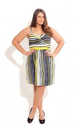 Plus Size Stripe Sunshine Dress - City Chic - City Chic
