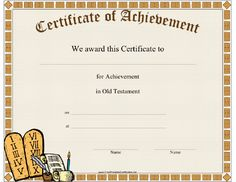 This Old Testament Achievement certificate features the stone tables containing the Ten Commandments as well as various writing instruments and supplies. Free to download and print