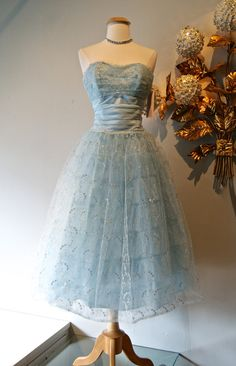 Vintage 50s Prom Dress / 1950's Pale Blue by xtabayvintage on Etsy, $298.00