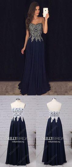 Dark Navy Prom Dresses,Long Prom Dresses A-line,Modest Sweetheart Prom Dresses Chiffon,Elegant Lace Prom Dresses Strapless