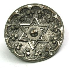 """Antique Pewter Button Fancy Detailed 6 Point Star - 5/8"""""""