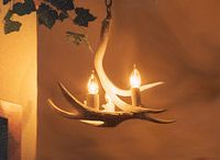 My cousin Kurt has a gallery in Wyoming of items he makes from antler... gorgeous chandeliers, lamps, scounces, furniture, mirrors, wineglasses, candleholders, vases,  Beautiful!