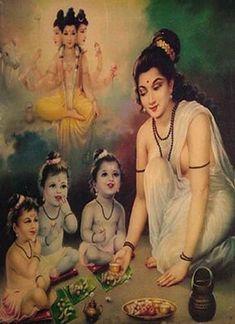 Anasuya feeding the Hindu Trinity Shiva Hindu, Shiva Shakti, Hindu Deities, Hindu Art, Hanuman Images, Lord Krishna Images, Lord Durga, Krishna Statue, Hare Krishna