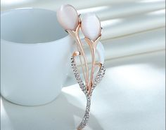 Adorable Rose Gold Plated Tulip Brooch with Zircon and Cat's Eye