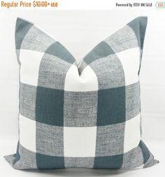 SALE Gunmetal grey Pillow cover. Grey & White. Buffalo Check