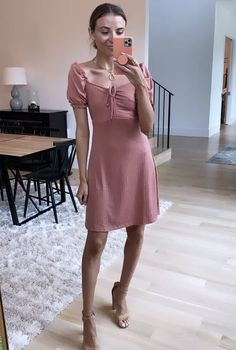 Pink Monte Carlo Mini Dress with the sweetest puff sleeves.