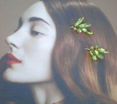 Fall Woodland Green Rhinestone Leaf Leaves Hair by WillowBloom, $28.50