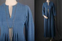 Blue Maxi dress Kimono sleeves pleats long hippie by sparrowlyn