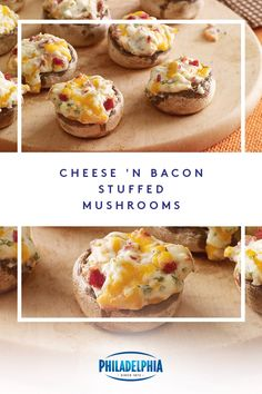 What's another word for 'delicious'? It's whatever word comes to mind when you create a savory recipe called Cheese 'N Bacon Stuffed Mushrooms with crumbled bacon, cheddar and, of course, PHILADELPHIA Cream Cheese. Low Carb Recipes, Cooking Recipes, Bacon Stuffed Mushrooms, Football Food, Appetisers, Mushroom Recipes, Keto Snacks, Thanksgiving Recipes, So Little Time