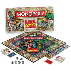 In Marvel Comics Monopoly, designed exclusively for Marvel Comics fans and collectors, players will buy, sell, and trade the most valuable comic books ever published.  http://www.calendars.com/Childrens-Comics-and-Anime/Marvel-Comics-Monopoly/prod201300007673/?categoryId=cat00142=cat00142#