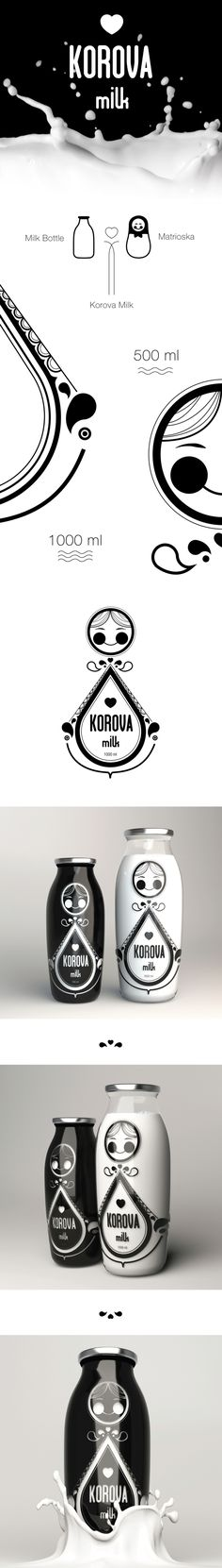 Korova Milk by Domenico Ruffo, via Behance . Pack . Packaging . Design . Bottle . Milk . Product Design .