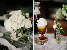 Outdoor reception ideas. Vintage wedding decorations. White bouquet. Nashville wedding photographers. www.bradandjen.com