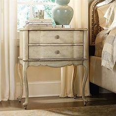 Hooker Furniture Sanctuary 2-Drawer Leg Nightstand in Pearl Essence |