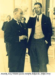 Atatürk'ün Az Bilinen Bir Fotoğrafı. Atatürk,İsveç Veliahtı Gustav Adolf'la Ankara'da...(Ekim 1934)