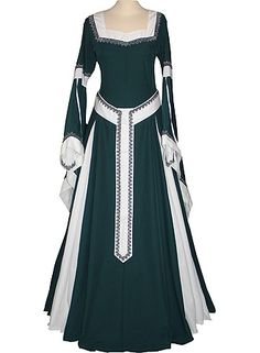 dornbluth.co.uk - medieval dresses - Guinevere Dark Green/Ecru with Belt