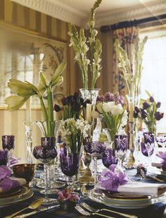As you know, we are all about table setting. I love the flower combination to decorate the tables, and the purple stemware is nice too! Table Arrangements, Floral Arrangements, Flower Arrangement, Table Violet, Purple Table, Green Table, Beautiful Table Settings, All Things Purple, Elegant Table