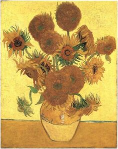 Still Life: Vase with Fifteen Sunflowers by Vincent Van Gogh  Painting, Oil on Canvas  Arles, France: August, 1888 http://www.vangoghgallery.com/catalog/Painting/586/Still-Life:-Vase-with-Fifteen-Sunflowers.html