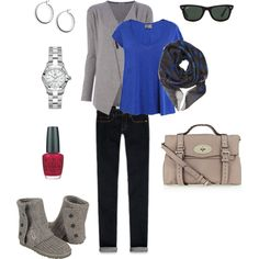 """Travel Outfit 1 (Gray and Blue)"" by slightlyepicurean on Polyvore"
