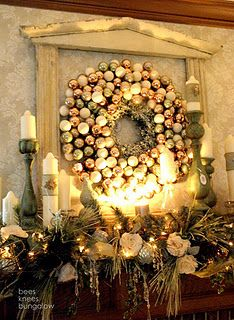 """neutral, white, green....I love,love,love this entire set up.  Never thought of using a window or something for a natural """"shabby-chique"""" look.  I also like the Christmas bulb look."""
