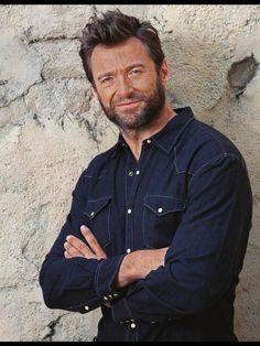Hugh Jackman in Blue Denim western shirt! I would so love to tear that shirt off of him!