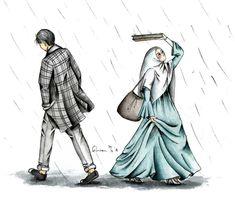 kumpulan kartun romantis parf 3 - my ely Cute Muslim Couples, Muslim Girls, Cute Couples, Couple Cartoon, Girl Cartoon, Cute Wallpaper Backgrounds, Cute Wallpapers, Muslim Couple Photography, Hijab Drawing