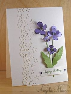 Image result for Handmade greeting cards using paper violets
