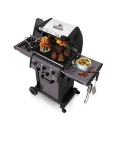 Broil King Monarch 390 3 Burner Gas Barbecue With Unique Rear Rotisserie And Side Garden Rattan Furniture