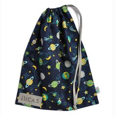 Drawstring Bag. Space Planets & Stars. School Kindy Library Bag. Option to Name. | Little Alligator | madeit.com.au Library Bag, Space Planets, Teal And Grey, Kids Storage, Cotton Quilting Fabric, Coordinating Fabrics, Kids Bags, Gifts For Boys, Black Fabric