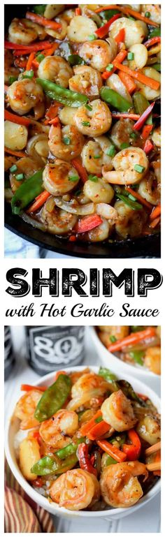 This Shrimp with Hot Garlic Sauce recipe. A dish packed with tons of flavor and delicious vegetables and comes together in a matter of minutes. Shrimp Dishes, Shrimp Recipes, Sauce Recipes, Cooking Recipes, Shellfish Recipes, Cooking Tips, Asian Recipes, Healthy Recipes, Ethnic Recipes