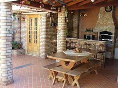 Cantinho do churrasco Outdoor Tables, Outdoor Decor, Tropical Houses, Exterior, Patio, Outdoor Furniture, Architecture, Home Decor, Play Areas