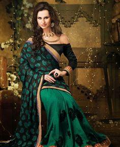 Adorable Black & Jade Green Party Wear Saree [ADF28438] $42.38 - Buy fashion wear online, Buy Indian wear Online by A1designerwear.com
