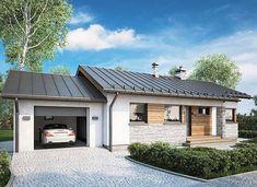 Roberto II Sz - zdjęcie 4 Atrium, Small House Design, Exterior Design, My House, Garage Doors, Mansions, House Styles, Outdoor Decor, Studio